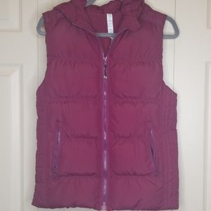 Lululemon Hooded Raspberry Colored Down Vest